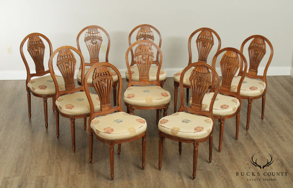 French Louis XVI Style Cherry Set 10 'Montgolfier' Balloon Back Dining Chairs