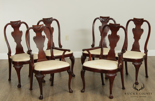 Baker Mahogany Queen Anne Style Set 6 Dining Chairs