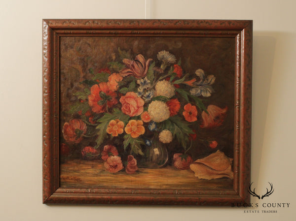 L. Leitner Antique Still Life Oil Painting on Canvas, Flowers in Vase