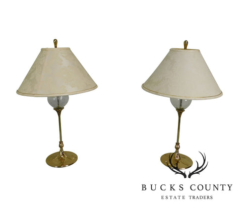 Vintage Pair of Quoizel Brass and Glass Foliate Table Lamps W/Shades