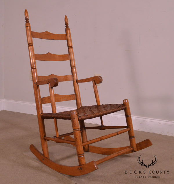 Antique 19th Century Ladderback Shaker Rocker