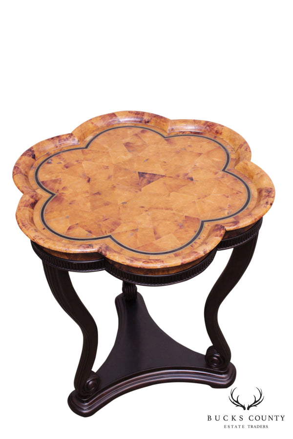 Maitland Smith Faux Tortise Shell Pie Crust Top Lacquered Pedestal Table