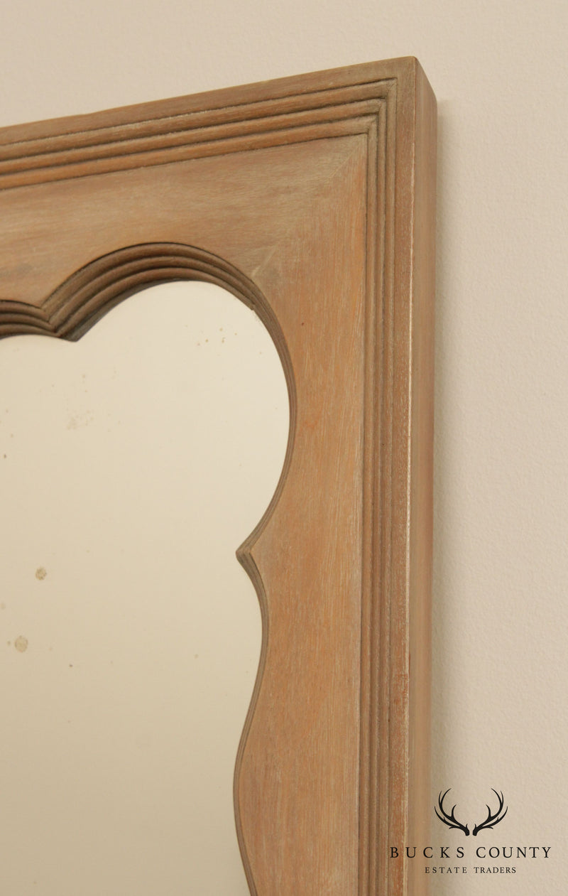 Large Vintage Cerused Finish Distressed Mirror, Louis XV Style