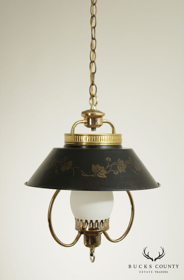 Vintage Hanging Light Fixture Black Tole Shade