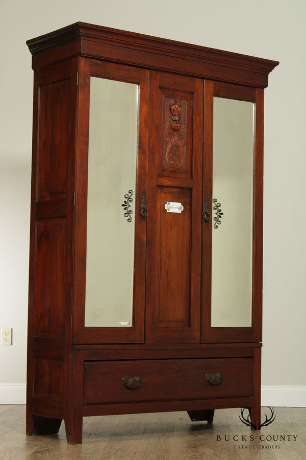 Antique Late 19th Century English Mahogany Mirror Doors Wardrobe Armoire