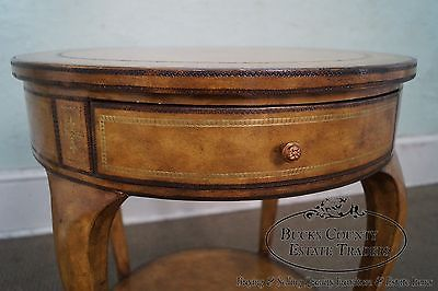 Maitland Smith Round Tooled Leather 1 Drawer Side Table