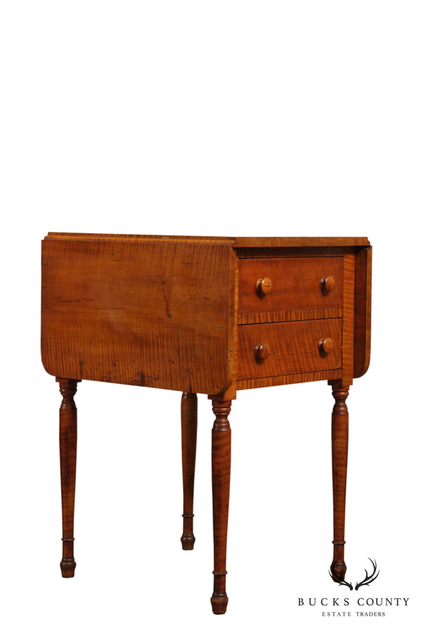 Antique Federal Period Antique Tiger Maple Drop Leaf 2 Drawer Side Table