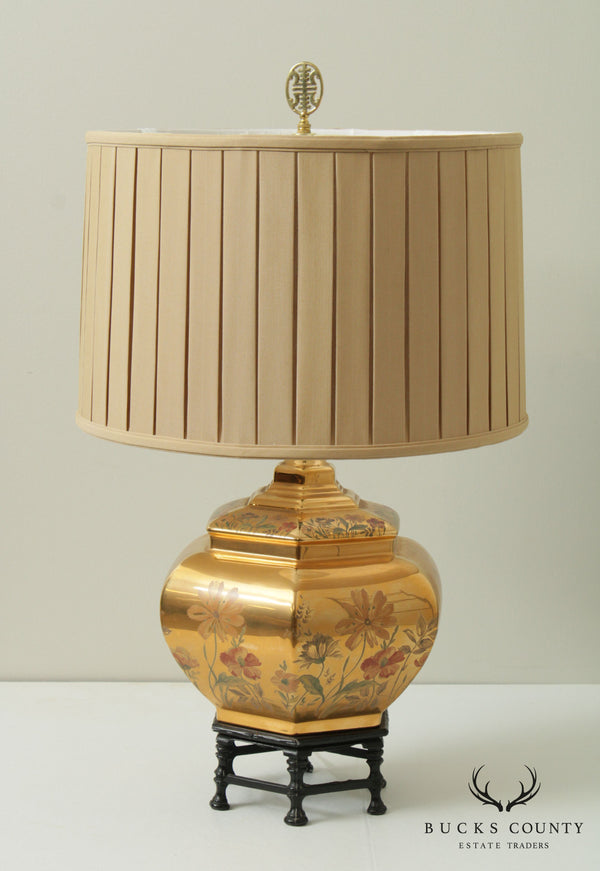 Vintage Asian Style Paint Decorated Gold Luster Table Lamp