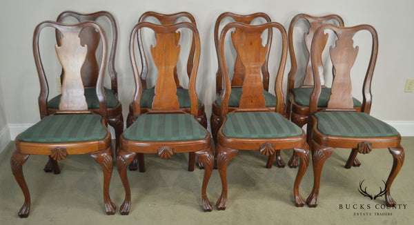 Antique Set of 8 Custom Quality Drake Foot Queen Anne Dining Chairs