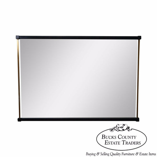 Tung Si Collection Ebonized & Brushed Nickel Asian Inspired Beveled Glass Mirror