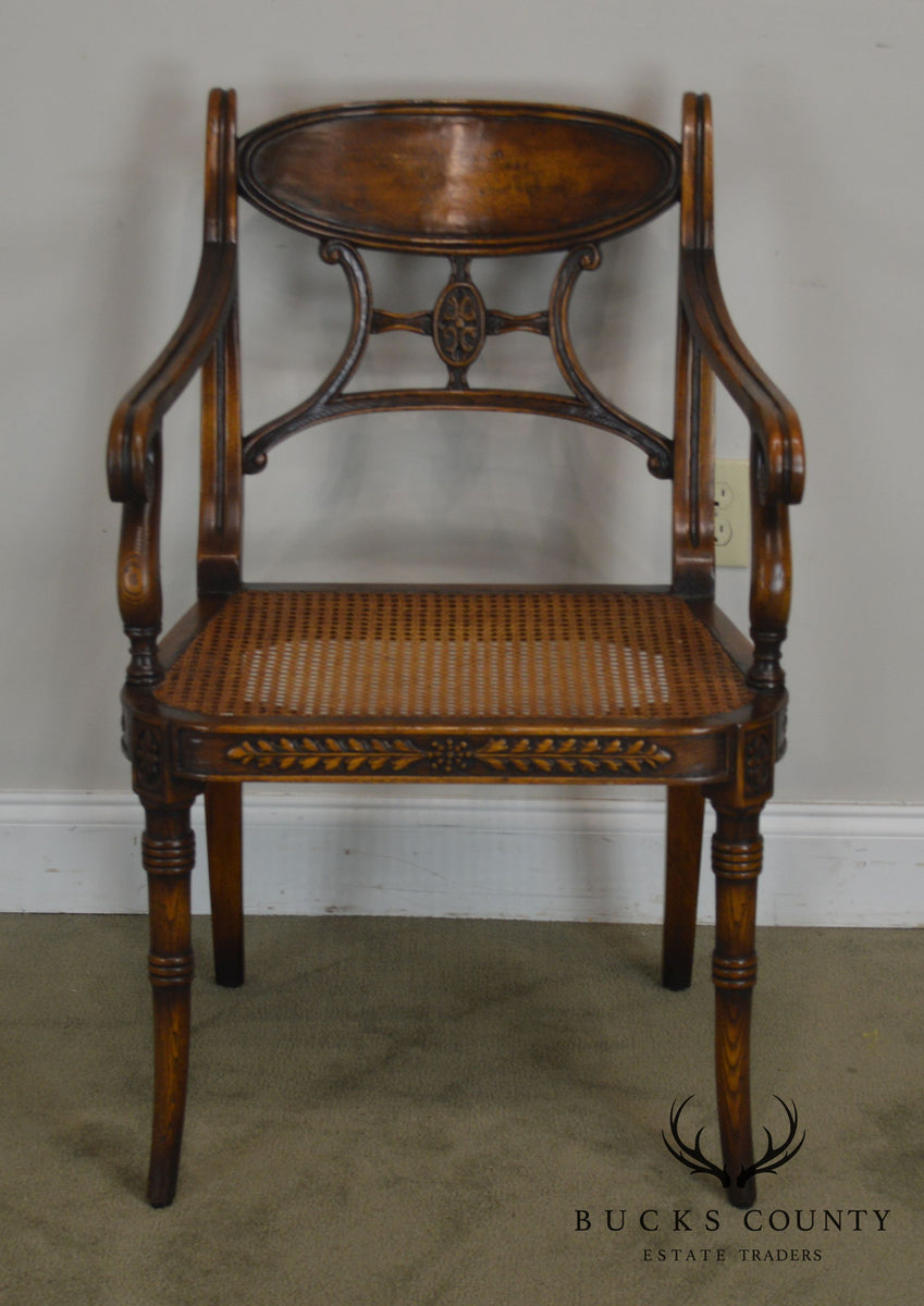 Theodore Alexander Regency Style Cane Seat Armchair