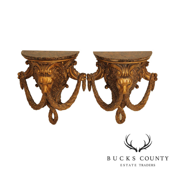 Maitland Smith Neo-Classical Style Pair Lion Head Carved Gilt Wall Brackets