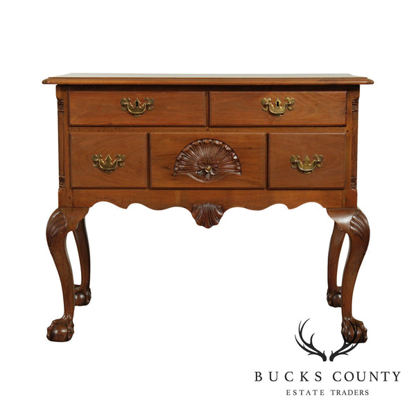 Chippendale Style Vintage Hand Crafted Walnut Lowboy