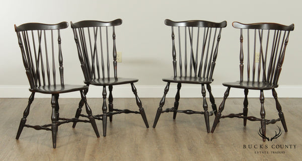 Heywood Wakefield Distressed Painted Set 4 Windsor Style Dining Chairs