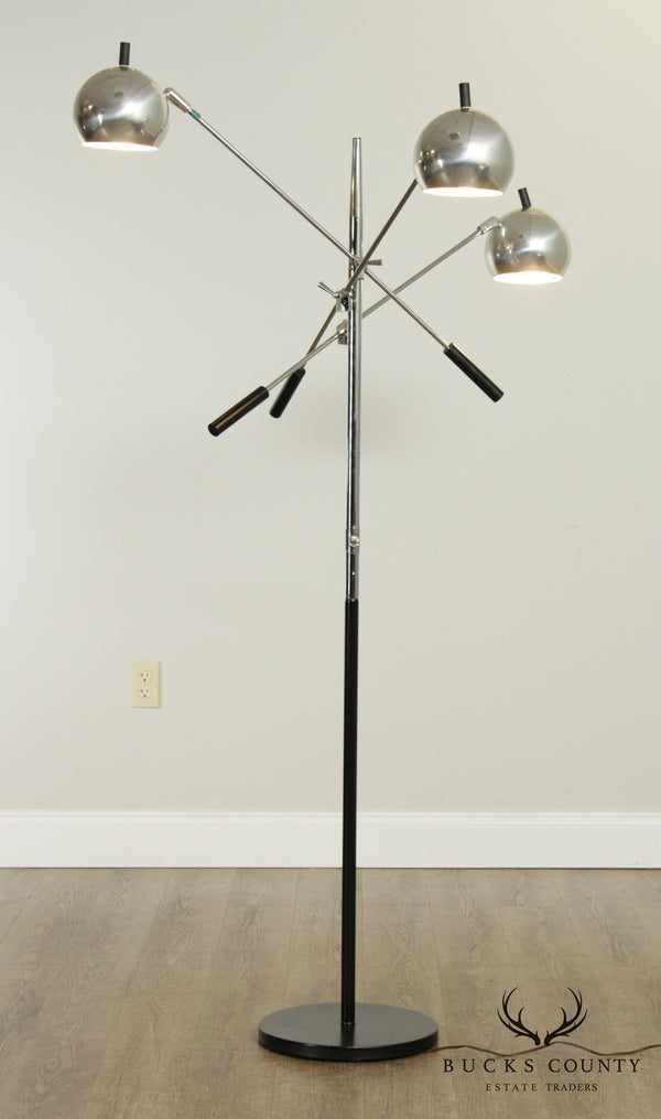 Robert Sonneman Mid Century Modern Chrome 3 Arm Floor Lamp