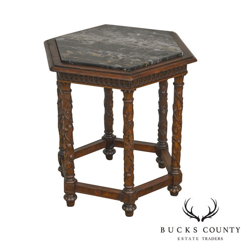 Antique Italian Carved Walnut Hexagon Marble Top Taboret Side Table