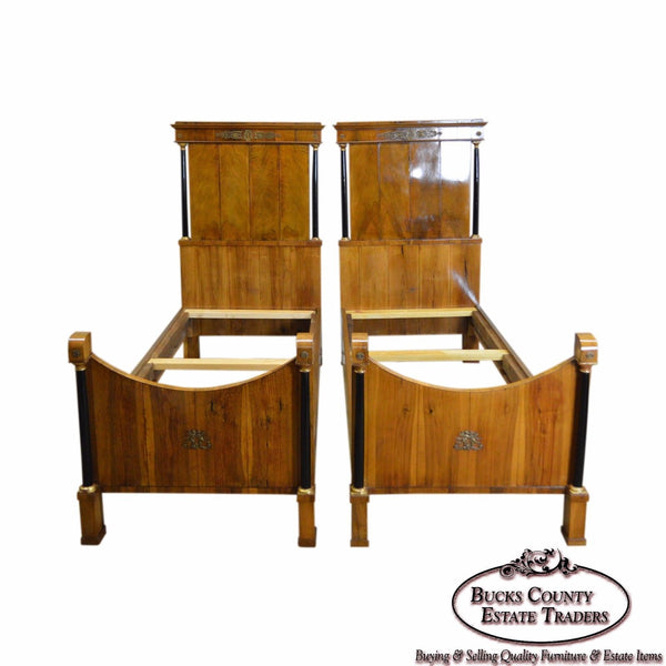 Biedermeier Style Pair of Antique High Back Beds