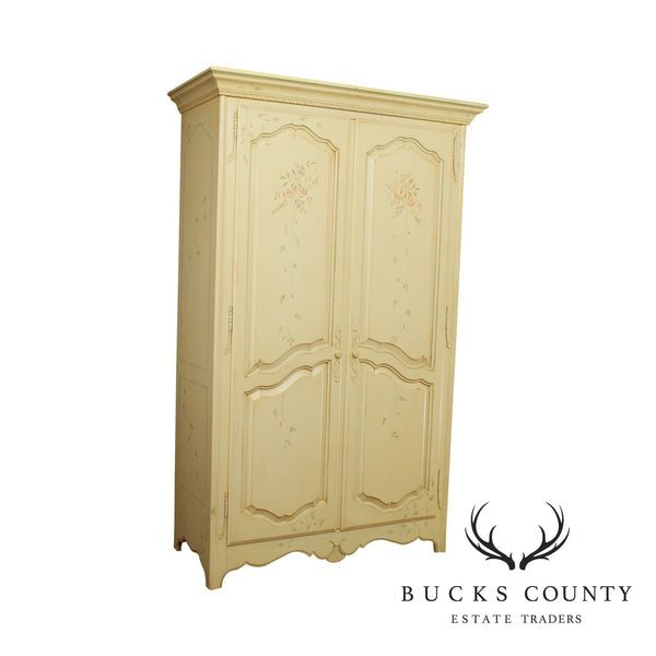 Ethan Allen Country French Large Painted Armoire Wardrobe Cabinet