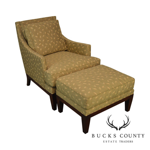 Stickley Fine Upholstery Cherry Frame Lounge Chair with Ottoman