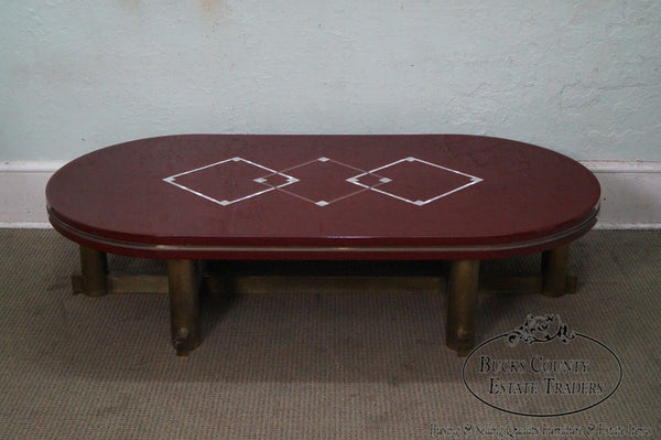 Mid Century Italian Lacquer Coffee Table w/ Brass Base