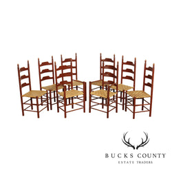 Quality Set 8 Country Painted Ladder Back Dining Chairs