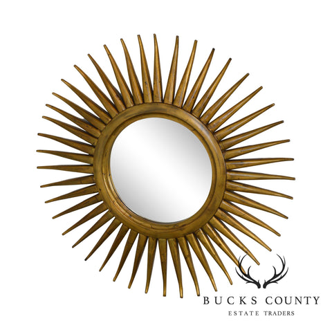Hollywood Regency Style Gold Giltwood Sunburst Mirror by Uttermost