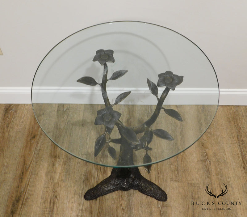Bronze Base Round Glass Top Side Table of Birds in Tree After Giacometti (B)