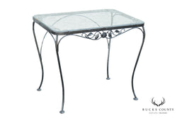 Woodard Chantilly Rose Vintage Wrought Iron Glass Top Patio, Garden Table