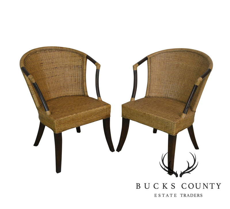 Rattan and Woven Wicker Pair Armchairs by Pier One