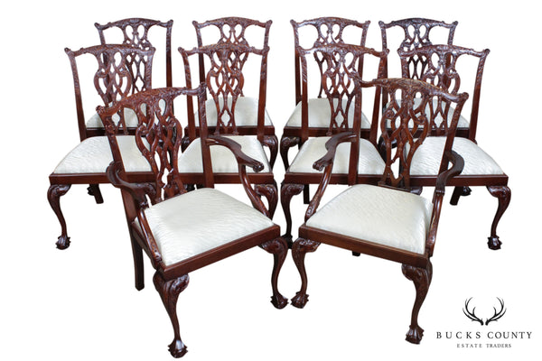 Chippendale Style Quality Set 10 Mahogany Carved Ball and Claw Dining Chairs