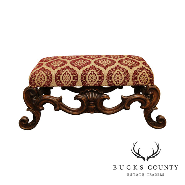 Italian Baroque Style Carved Walnut Bench or Ottoman