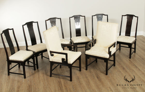 Century Asian Influenced Set 8 Ebony Finished Dining Chairs
