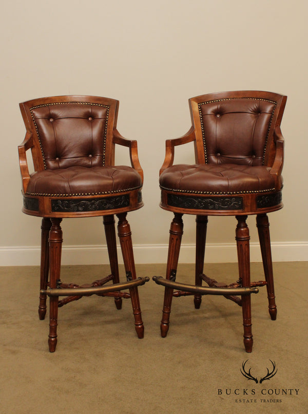 Maitland Smith Tufted Leather Pair Bar Stools