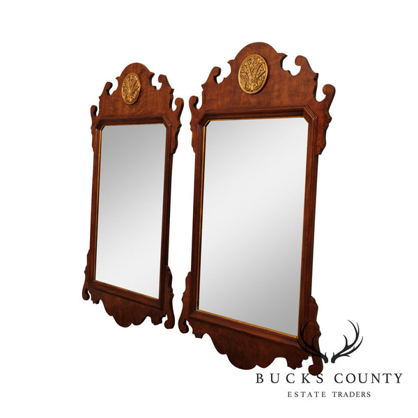 Henredon Salem Collection Cherry Chippendale Style Pair Mirrors
