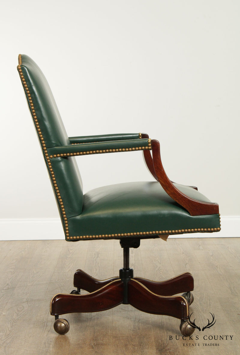 Hickory Chair Mahogany Green Leather Office Desk Chair (B)