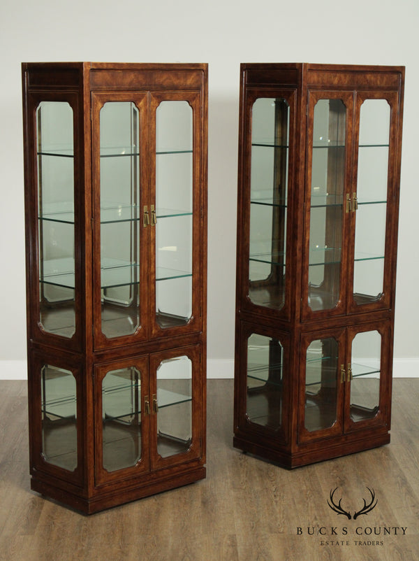 Thomasville Mystique Tall Pair Beveled Glass Display Curio Cabinets