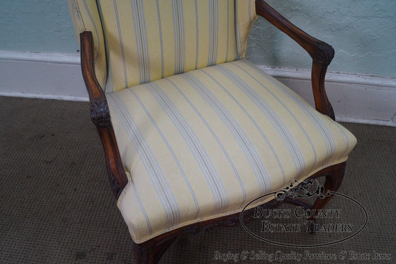 Custom Quality Vintage French Louis XV Style Wing Size Arm Chair