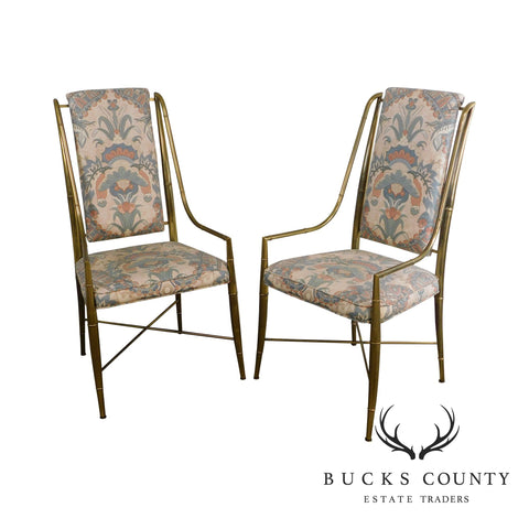 Mastercraft Mid Century Hollywood Regency Pair Brass Faux Bamboo Armchairs