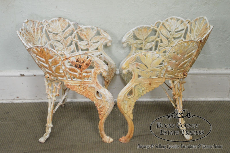 Antique Cast Iron Laurel Pattern Pair of Curved Back Garden Chairs