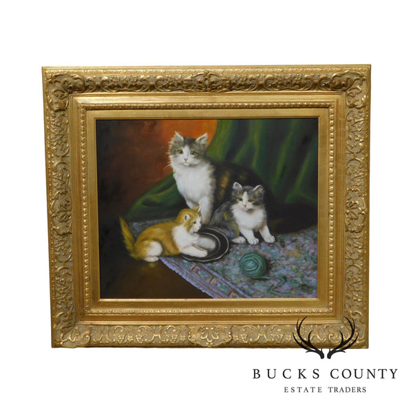 Thomas Blinks Painting Cat and Kittens Oil on Canvas Custom Frame