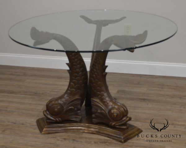Italian Bronze Tri - Dolphin Base Round Glass Top Dining or Center Table