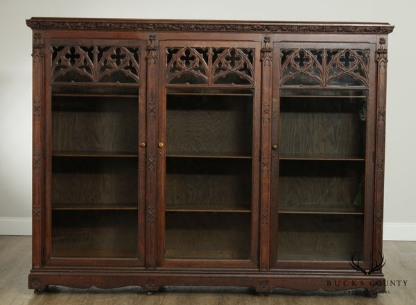 Antique American Gothic Revival Carved Oak 3 Door Bookcase