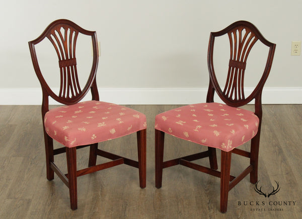 Hepplewhite Style Custom Quality Pair Mahogany Shield Back Chairs