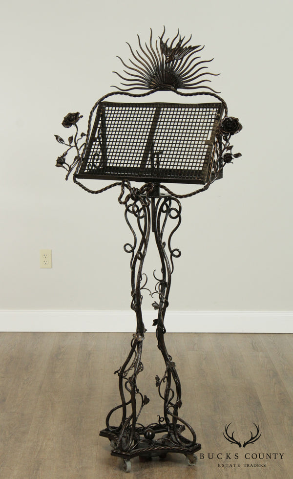 Hand Forged Iron Art Nouveau Sun Burst Rose Vine Music Stand by Farin