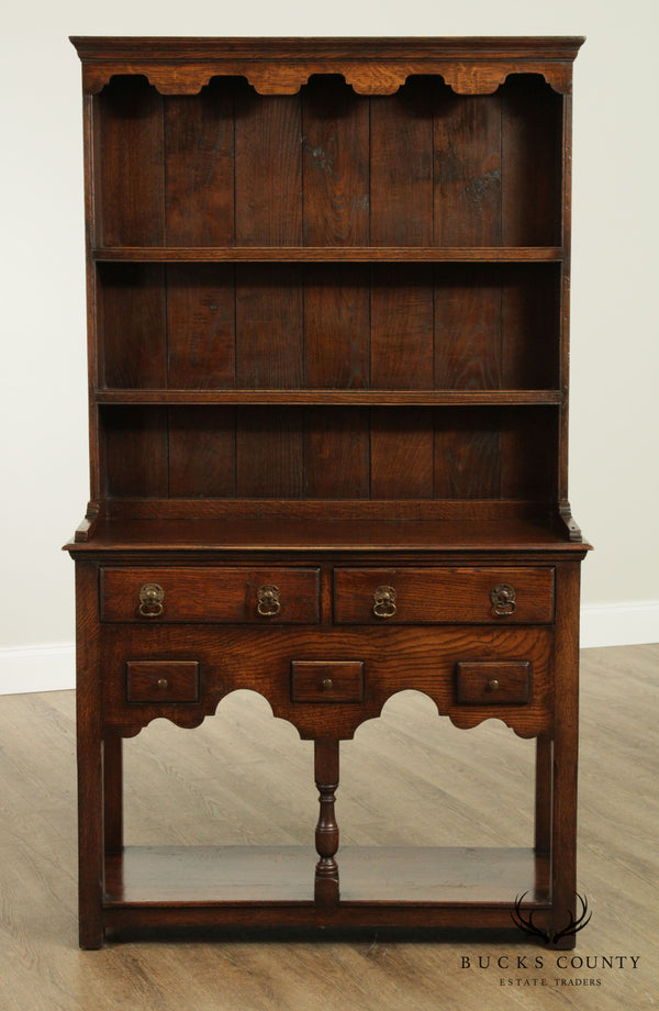 18th Century Hand Crafted Reproduction English Oak Pewter Cupboard