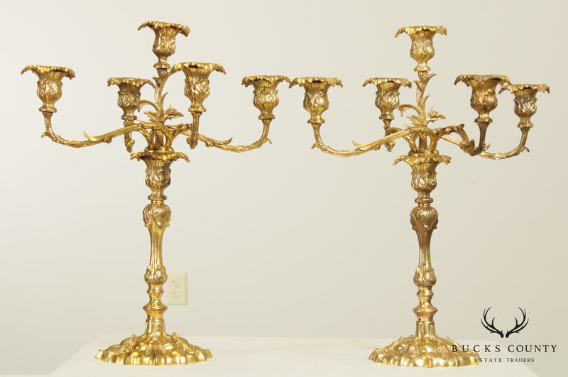 French Rococo Style Quality Pair Brass 5 Light Candelabras (B)