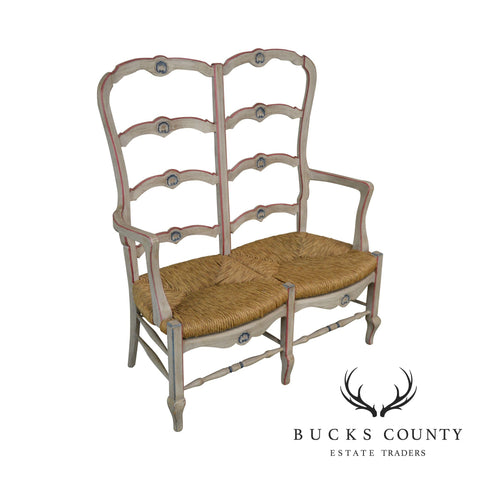 French Country Style Vintage Painted Ladder Back Rush Seat Settee