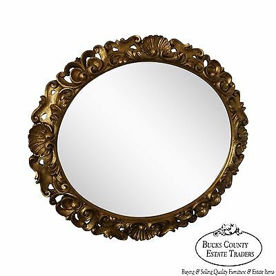 Antique Italian Carved Gilt Wood Rococo Style Oval Hanging Wall Mirror