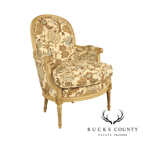 Baker French Louis XVI Style Custom Painted Bergere Chair