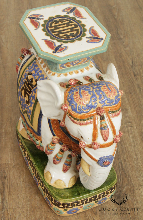 Vintage Chinese Glazed Pottery Elephant Garden Stool